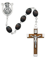 (150R) 6X8MM BROWN WOOD ROSARY