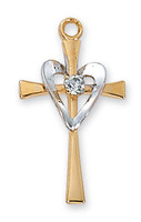 (J9117) GS CROSS W/GLD HEART 18CHAIN""