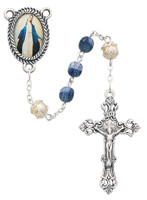(364R) 6MM BLUE/PEARL ROSARY