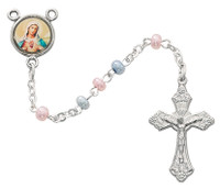 (643R) 3MM PINK AND BLUE ROSARY