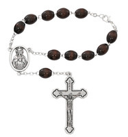 (657C) 6X8MM BROWN AUTO ROSARY/CARDED