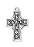 (L8083) SS CELTIC CROSS 18 CH&BX""