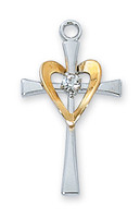 (L9117) SS CROSS W/GLD HEART 18CHAIN""