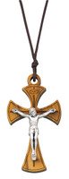 (760-84) OLIVE WOOD CRUCIFIX PENDANT