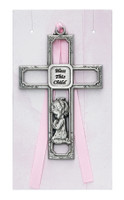 (PW13-P) PEWTER GIRL CROSS CARDED