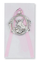 (PW6-P) GUARDIAN ANGEL CRIB MEDAL PINK