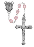 (R102LF) SS 6MM PINK GLASS ROSARY