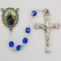 (R183DF) 6MM BLUE ST. ANNE ROSARY