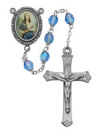 (R187DF) 6MM BLUE ST. CECELIA ROSARY