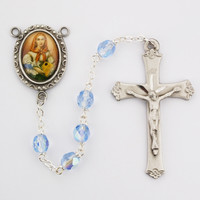 (R190DF) 6MM BLUE ST. DYMPHNA ROSARY