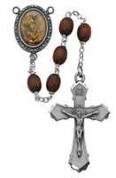 (R204DF) 6X8MM BROWN ST. MICHAEL ROSARY