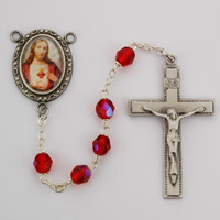 (R220DF) 6MM RED SACRED HEART ROSARY
