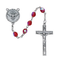 (R262SF) 6MM RED HOLY SPIRIT ROSARY