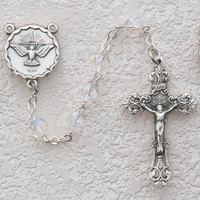 (R263SF) 6MM CRY HOLY SPIRIT ROSARY