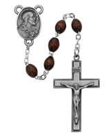 (R287LF) 4X6MM SS BROWN WOOD ROSARY