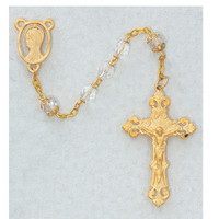 (R304HF) 7MM GOLD PLATE CRY ROSARY