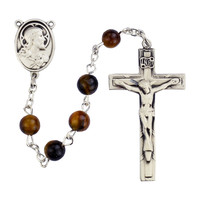 (R376SF) 4X6MM BROWN ROSARY