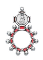 (94-22) RED DIVINE MERCY ROSARY RING