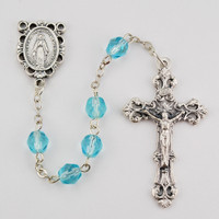 (R391-AQKF) 6MM AB AQUA/MARCH ROSARY
