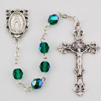 (R391-EMKF) 6MM AB EMERALD/MAY ROSARY