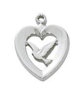 """(RC638) RF HEART W/DOVE 18""""CH&BX"""