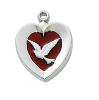 (RC652) RF RED ENAMEL HEART W/DOVE 18""