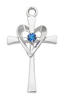 (L9177) SS CROSS W/BLUE STONE & HEART