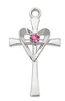 (L9178) SS CROSS W/ROSE STONE & HEART