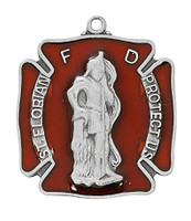 "(D763) PEW RED ST FLORIAN MEDAL, 24"""