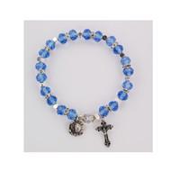 (BR818C) BLUE ROSARY BRACELET, CARDED