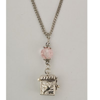 "(NK120C) 18"" PINK PRAYER BOX PENDANT"