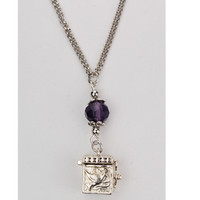 "(NK124C) 18"" AMETHYS PRAYER BOX PENDANT"