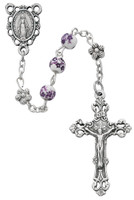 (R647SF) 6MM PURP FLOWER CERAMIC ROSARY