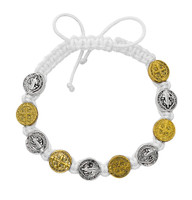 (BR853C) WHITE CORD SILVER/GOLD ST. BEN