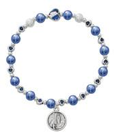 (BR825C) BLUE LOURDES STRETCH BRACELET