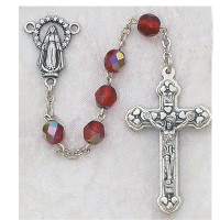 (120-RUR) 6MM AB RUBY/JULY ROSARY W/CNTR
