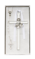 (CBS1) WHITE ENAMELED CHALICE CROSS