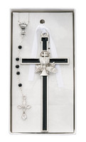 (CBS2) BLACK ENAMELED CHALICE CROSS