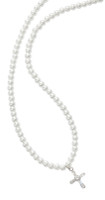 """(NK132C) 16""""STRETCH PEARL & CRYS CROSS"""
