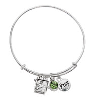 (BN639L-PE) PERIDOT PRAYER BOX BANGLE