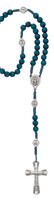 (P263R) BLUE WOOD CORD MIRAC ROSARY