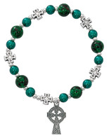 (BR827C) GREEN CELTIC STRETCH BRACELET