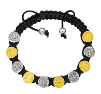 (BR869C) BLACK CORD SILVER/GOLD ST. BEN