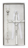 (CBS3) WHITE ENAMELED CRUCIFIX
