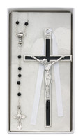 (CBS4) BLACK ENAMELED CRUCIFIX