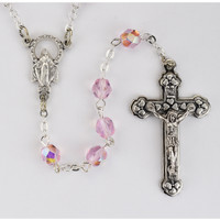 (120-RSC) 6MM AB ROSE/OCTOBER ROSARY