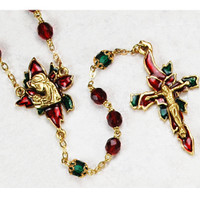 (R031HF) GP 7MM RUBY POINSETTIA ROSARY