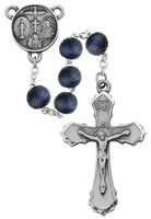 (R703DF) PEWTER 8MM BLUE WOOD ROSARY