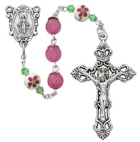 (R704DF) PINK & CERAMIC BEAD FLOWER ROS