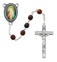 (363C) 6MM RED DIVINE MERCY ROSARY